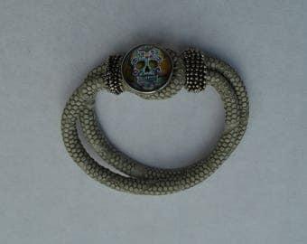 chunk bracelet beige skull