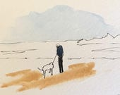 Seascape ORIGINAL Miniature Watercolour painting 'Man and Dog by the Sea'' ACEO  For him,For her,Home Decor,Wall Art Gift Idea,Free Shipping