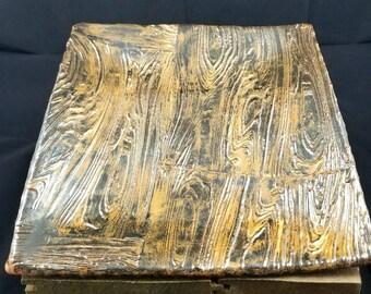 Rustic Ceramic Wood Dinner Plate, Decorative Plate, Pottery Platter, Ceramic Plate, Rustic Platter, Pottery Plate