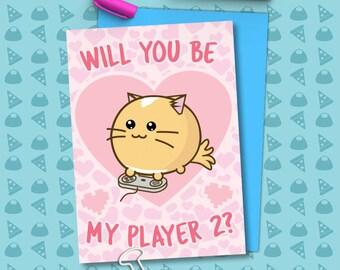 Will You Be My Player two? Valentine's Card Cats geek video games love Girlfriend Anniversary boyfriend wife Kawaii Love Fuzzballs Greeting