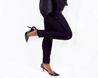 Black Triple Crepe Tuxedo Trousers, Black Stretch Slim Pants, Triple Crepe Tuxedo Trousers  – Made to Order.
