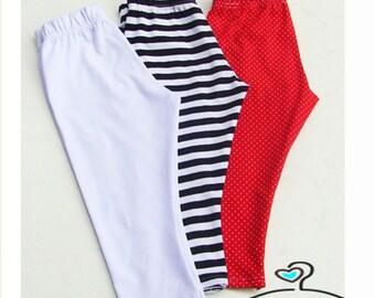 Leggings trousers for children red white striped