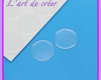 20 cabochons autocollants en résine transparente 20 mm