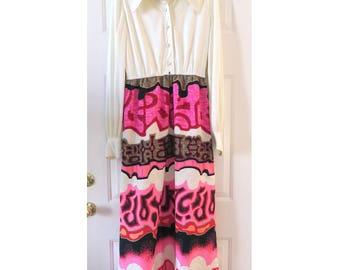 Vintage 60s Pink HAWAIIAN Print Barkcloth Maxi Dress Joseph Magnin S/M