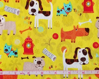 Dog Print Cotton Fabric, Sewing Fabric, Quilting Fabric, 1.5 yards-Ready to Ship
