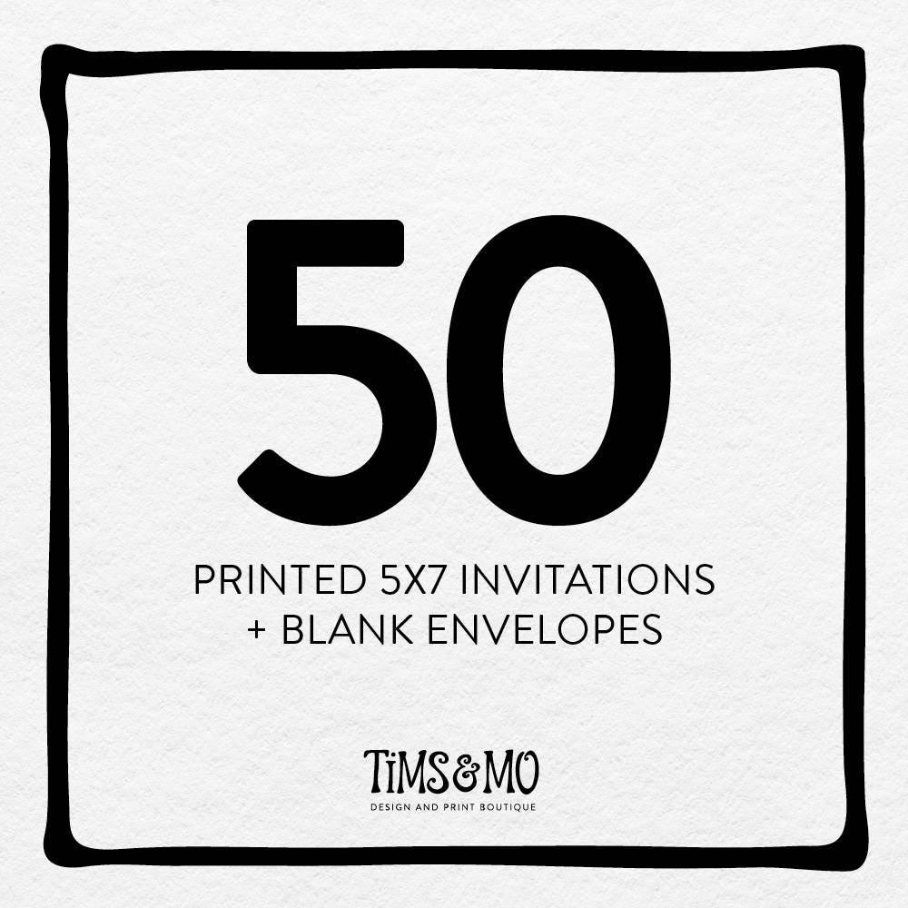 50 printed 5x7 invitations w blank envelopes e10261624441623031m