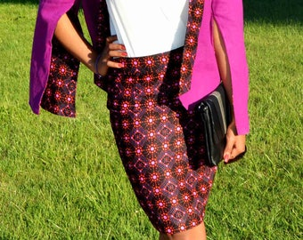 Skirt and jacket assortee in African print fabric