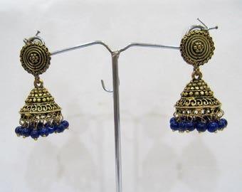 Fashion Designer Golden Oxidized Earrings , Jhumka Jhumki Jewelry , Ethnic Long Drop Chandelier , Traditional Jewelry , Unbelievable Prices.