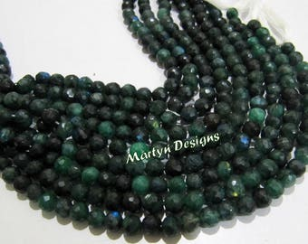 Best Quality Mystic Green Coated Labradorite Beads , 6-7mm Round Faceted Beads , Strand 8 inch Long , Micro Faceted Labradorite Beads.