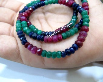 AAA Quality Natural Ruby Emerald Sapphire Precious Gemstone Nacklace 16inch long Corundum Beads 4mm Rondelle Faceted Beads,Multi color Beads