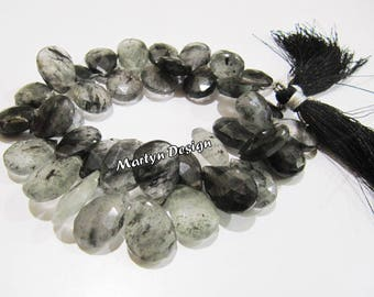 AAA Quality Natural Black Rutilated Quartz Pear Shape Briolette Beads , Size 10x15mm to 12x16mm , Strand 8 Inches Long Flat Drop Shape Beads