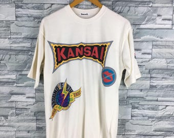 KANSAI YAMAMOTO T shirt Medium Vintage 90s Kansai O2 Japan Designer Kansai Target Hey! Say What You Want White Tshirt Size M