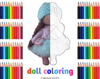 Textile doll Color me Tilda doll Printable coloring Fabric doll Adult coloring Rag doll Print and color page Inspirational coloring Hobby