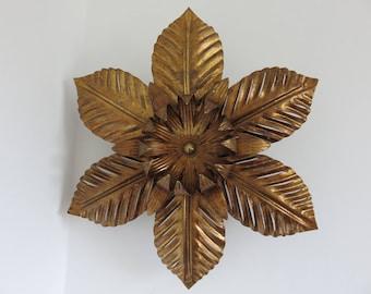 """RESERVED V large lamp applique flower metal """"GOLD LEAF"""" gold mid century 1970's 70's vintage wall lamp sconce gold leaf Jansen"""