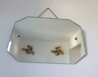 very large antique mirror with rope art deco octagonal bathroom 1960 60s mid century vintage old french mirror