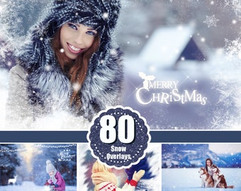 80 Snow winter Photoshop Overlays, Wonderland effect, Realistic Snowflakes, Christmas, Snow, Light, art text, frame, logo, png file