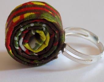 Original ring red/green/yellow wax fabric