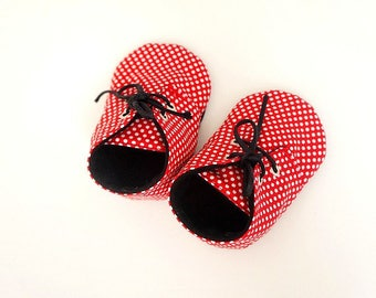 Slippers soft baby girl red and black made in France