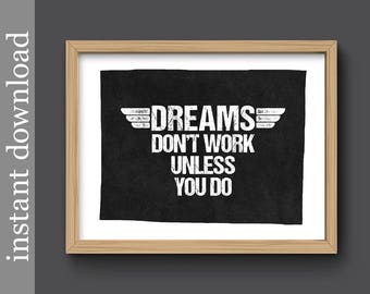 Dorm Poster, office printable, motivational quote, dreams quote, office wall art, inspirational, student gift, graduation gift, gift for him