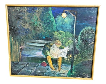 Vintage OIL PAINTING Park Night Scene mid century modern signed listed artist Lucille Cohn New York renoir monet framed 60s green landscape