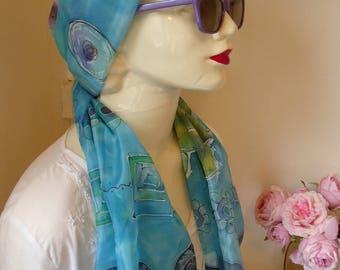 Handpainted silk scarf, ponge 5, blue, green