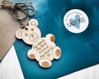 Wooden My Nana, My best friend, My world  Teddy Bear    Engraved Keyring Gift