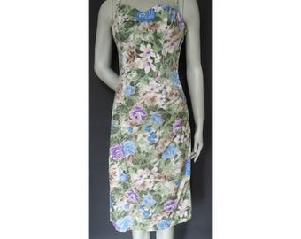 Vintage 1950s/50s Horrockses Floral Wiggle DRESS Fabric Wedding