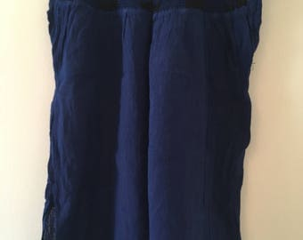 Traditional Mexican dark blue with detail Blouse of Manta
