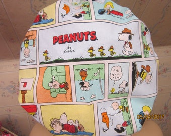 SNOOPY -PEANUTS --BOUFFANT scrub hat / ponytail / tieback style / cotton print fabric / medical /surgical/ adjustable, has a comfort band