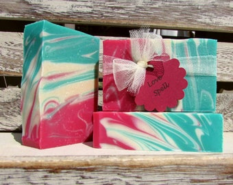 Love Spell Handcrafted Soap, Goats Milk Soap, Mild Soap, Handmade Soap, FREE SHIPPING