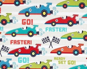 Faster Race Cars in multi from Michael Miller -  cotton quilting fabric by the yard