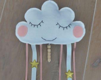 Baby gift, Baby mobile, cloud mobile, babyroom mobile, girlsroom, filt mobile, dreamcatcher, wall decoration, baby shower gift, sleepy cloud