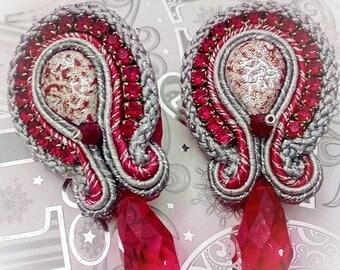 Soutache earrings with Teardrop Cabochon beadworks