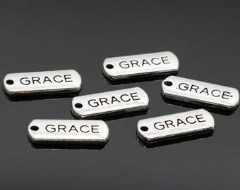 5 Pcs Grace Charms Antique Silver Tone 20x8mm - YD0909