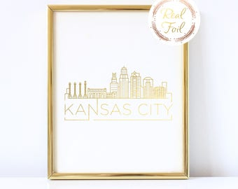 Kansas City Gold Foiled Print Skyline Wall Art Kansas City Gift For Her Kansas City Art Apartment Decor Office Decoration