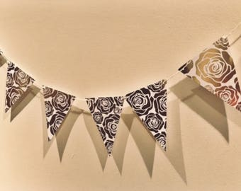 Gold Foil Floral Flagged Banner