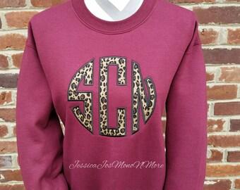 Monogrammed Sweatshirt-Monogram Sweatshirt-Monogrammed Crew Neck Sweatshirt-Natural Circle Monogram Sweatshirt-Adult and Youth Sizes