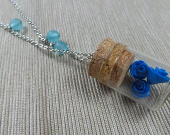 Necklace with small bottles and miniatures/handmade pendants #8