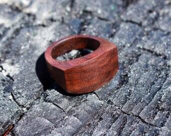 Wooden, black walnut, contemporary ring, hypoallergenic