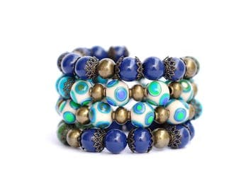 Blue Memory Wire bracelet Blue Wrap bracelet Polymer Clay jewelry Beaded bracelet Multicolored Bead bracelet Boho jewelry Women's bracelets