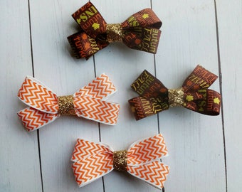 READY TO SHIP! | Small Hair Bows with Alligator Clips | Pigtail Bows | Thanksgiving Hair Bows | Hair bows | Bow | Thanksgiving Hair Bow