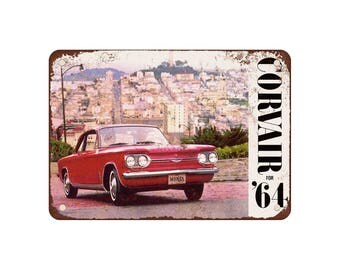 "1964 Chevrolet Corvair - Vintage Look Reproduction 9"" X 12"" Metal Sign"