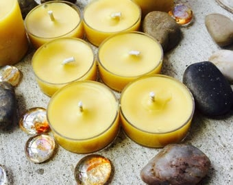 100% pure organic beeswax tealights in packs of 6, 12, 24, 36 and 48