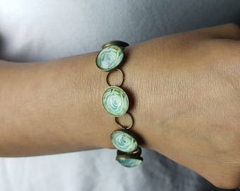 Green Succulent Bracelet in Antique Bronze Setting with Round Glass Cabochons Photo Jewelry Photo Bracelet Nature Jewelry Flower Jewelry