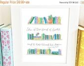 SALE Bookshelf Print - Literary - handlettered - Louisa May Alcott Quote - QBLM
