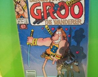 Groo The Wanderer #49 Sergio Aragone's Comic Book of Humorous Adventures Of Mighty Warrior Groo Vintage Comic Book 1989 Good Cond Creases