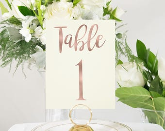 Ivory and Rose Gold Foil Table Numbers Handmade Wedding #0102