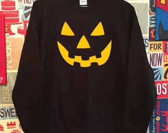 Halloween Pumpkin Face. Unisex Quality Sweatshirt. Halloween. Trick or Treat inspired. Xmas Christmas. Holiday Present or Gift.
