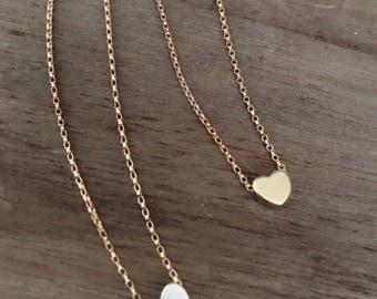 Gold Heart Necklace / Dainty Heart Choker / Gold Layering Necklace / Bridesmaid Necklace Gold Love Necklace, Minimalist, Bridesmaid, Wedding