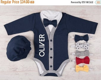 LATE SHIP SALE Take Home Outfit Boy, Personalized Baby Boy Outfit, Cardigan, Bodysuit, Hat & Bow Tie Set, Newborn Boy Coming Home Outfit, Ph